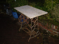 Vintage Sewing Machine Garden Table, Marble Top, Industrial, Architectural Salvage