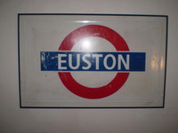 1950's London Underground Sign, Euston, Large, Enamel, Nice Condition, Rare
