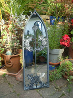 Vintage French 1980's Medieval Style Garden Mirror, Ex condition