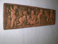 Architectural Salvage, Vintage French 7 Cherubs Garden Wall Plaque