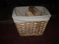 Vintage Lined Log Basket, Storage Basket
