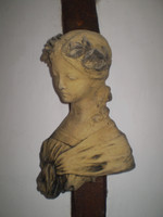 Vintage French Lady Wall hanging Garden Statue, Garden Reclamation, 1950's