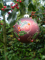 Luxury Danish Christmas Crystal Glass Holly Design Bauble
