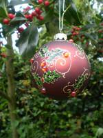 Luxury Danish Christmas Crystal Glass Holly Design Bauble