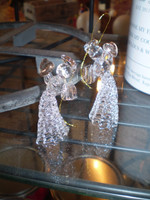 2 Danish Crystal Glass Angels Holding Hearts