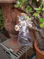 Danish Glass Crystal Bell Angel holding a Golden Heart Christmas Ornament, Decoration