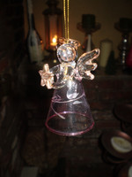 Danish Glass Crystal Bell Angel holding a Golden Holy Star Christmas Ornament, Decoration