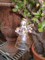 Danish Glass Crystal Bell Holy Angel praying Christmas Ornament, Decoration