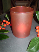 Danish Christmas Red Frosted Glass T-Lite Holder