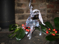 Danish Crystal Glass Reindeer Stag hanging Christmas ornament, decoration
