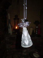 Danish Glass Crystal Holy Angel praying Christmas Ornament, wearing a Heart Dress