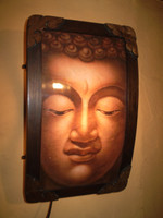 Vintage French Buddha Lamp, 1970's Circa, P.A.T tested, Wall Hanging