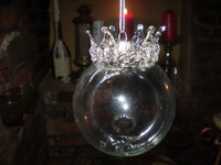 Danish Royal Crown Crystal Bauble Christmas Ornament, Decoration.