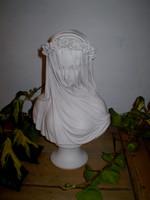 Vintage Medieval style  Marble Lady Bust Sculpture
