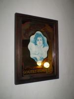 Vintage French 1950's Shop Mirror advertising sign, Chocolat, Art Nouveau
