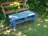 Vintage French industrial themed garden or home table, Indigo blue colour