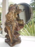 Vintage French 1930's art deco lady mirror statue, reclamation