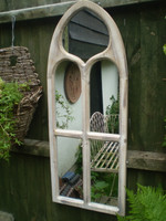Danish Medieval style lime washed timber mirror, home or garden