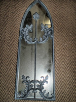 Vintage French 1980's Medieval Style Garden Mirror,  Slightly Damaged