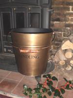 English Brass hand made kindling bucket, fireside tools