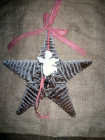 Swedish Style Rustic Christmas Frosted Holy Star decoration with Angel bell.