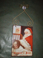 Vintage 1930'S style shabby chic enamel  style Christmas sign.