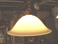 VINTAGE DANISH RETRO HANGING,CEILING LAMP, LANTERN.UFO STYLE GLASS SHADE