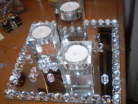 Lovely Danish Crystal mirror 3 t-lite holder,Just Beautiful