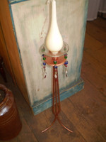 TALL DANISH COPPER CANDLE STICK, STAND,CANDLE JEWELS & TEARDROP CANDLE