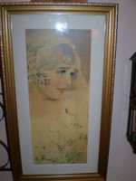 LOVELY VINTAGE SHABBY CHIC FRENCH FRAMED PRINT LA MARIEE,THE BRIDE.