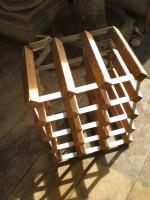 Vintage Danish retro Timber and Metal wine rack,Holds 12 bottles