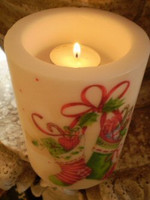 Lovely Polish wax Victorian Christmas stocking t-lite candle lantern, Gift from Poland.