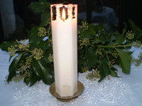 Danish Romantic,Wedding,Christmas set of Ice crystal dripping hexagon candle & stand plus 500 crystals