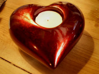 German Romantic glass heart tea-lite holder, burgandy red, Christmas, Valentine,Wedding Decoration