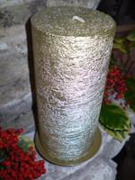 German gold brushed metallic pillar candle,natural wax,slow burning