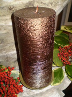 German Copper brushed metallic pillar candle, natural wax, slow burning