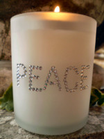 American Austrian Crystal Christmasl Frosted Glass candle votive.PEACE.