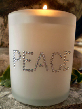 American Austrian Crystal Christmasl Frosted Glass Candle