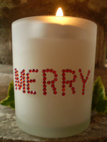 Austrian Crystal Christmas Frosted Glass Candle votive.MERRY