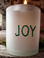 Austrian Crystal Christmas Frosted Glass Candle votive. JOY