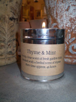 Cornish scented candle tin, fresh garden mint blended with a herbal scent of thyme