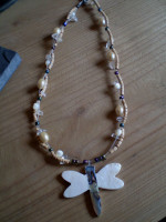 Danish Jewellery,Cream & Beige beaded Dragonfly Necklace