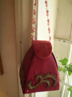 Austrian velour burgandy red beaded,sequin Jewellery box,Ethnic design