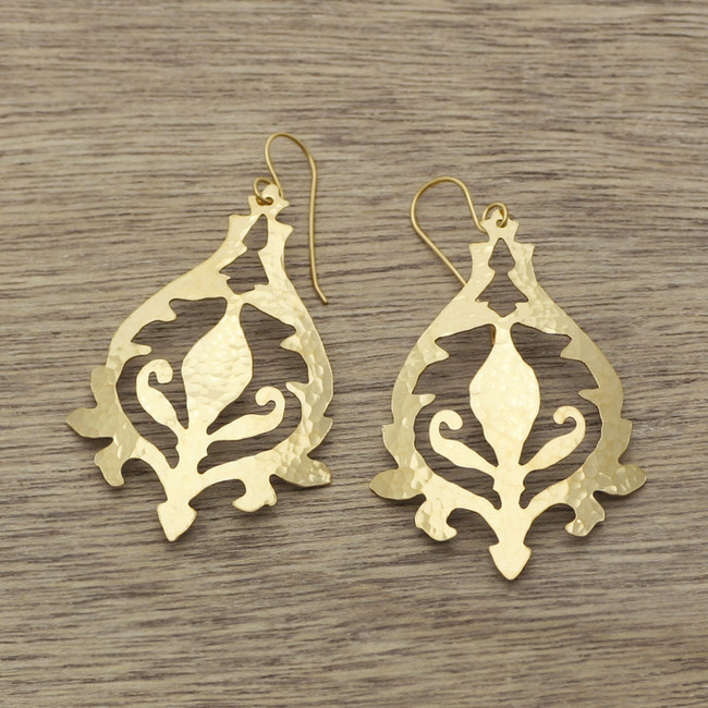 Gold blue bell earrings