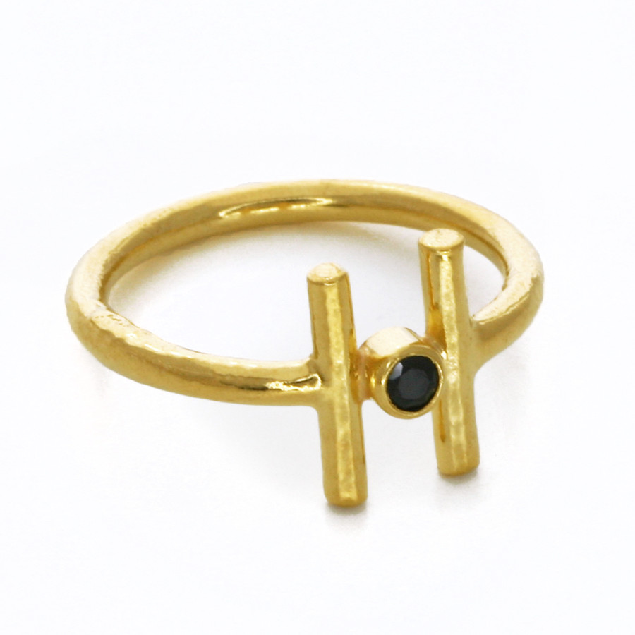gold bar ring with spinel