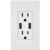 SenQ Wall Outlet Dual-USB Charger sockets UL-Listed Duplex Receptacles mount  with Wall Plate 2.5A High Speed USB Receptacle