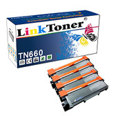 LinkToner TN660 Compatible Toner Cartridge Replacement for Brother TN660 TN630 BK 4 Pack