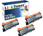 LinkToner TN760 W/ Chip 3 Pack Compatible Brother Laser Printer Toner Cartridges