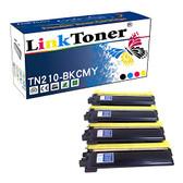 LinkToner TN210 Color Compatible Toner Cartridges High Yield for Brother TN210-BKCMY 4 Color Laser Printer HL-3045CN, HL-3070CN