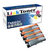 LinkToner Double High Yield TN660 H 4 Pack Compatible Toner Cartridge for Brother TN-630 & TN-660 BK Laser Printer HL-L2300D, HL-L2315DWHL-L2300D, HL-L2305W